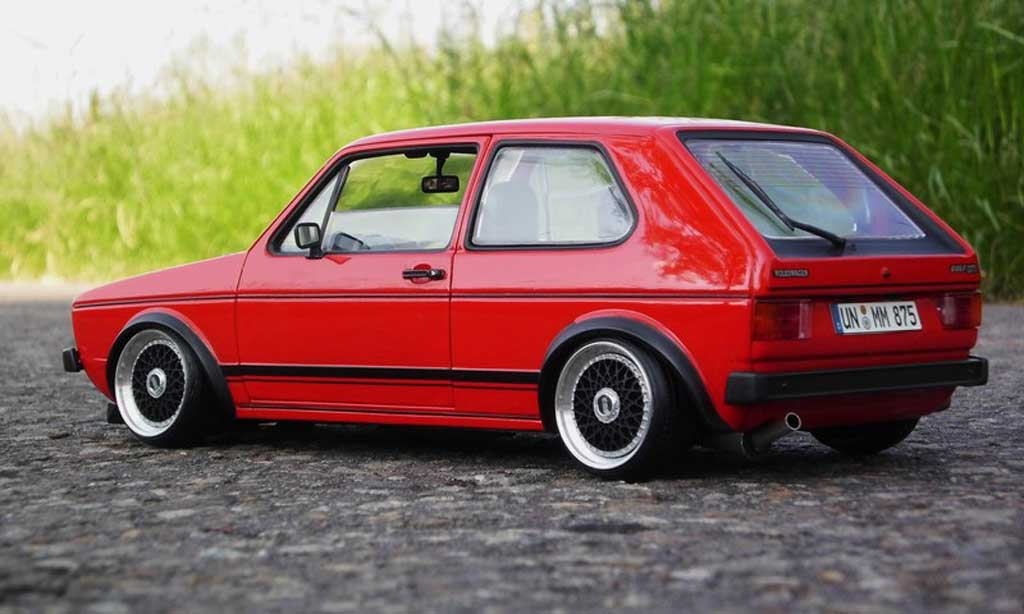Volkswagen Golf 1 GTI 1/18 Solido rot jantes BBS alu modellautos