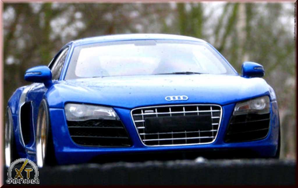 Audi R8 5.2 FSI 1/18 Kyosho bleu jantes bbs 20 pouces miniature