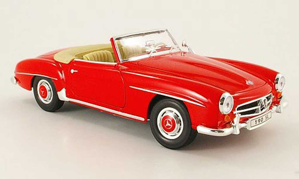 Mercedes 190 SL 1/18 Welly rouge offen 1955 miniature