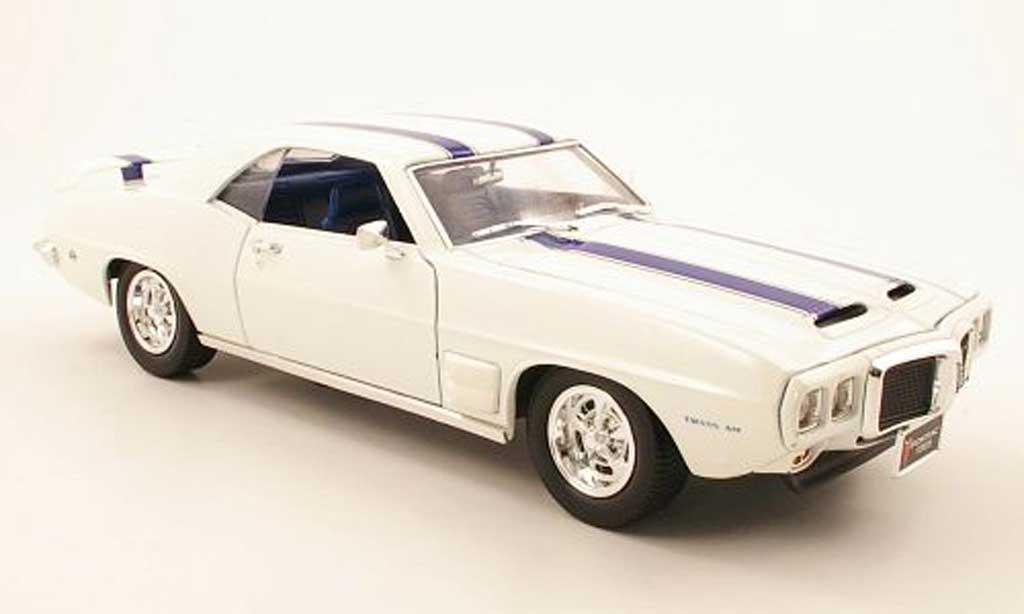 Pontiac Firebird 1969 1/18 Yat Ming trans am blanche/bleu miniature