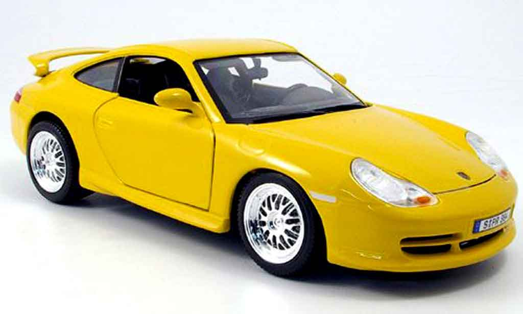 Porsche 996 GT3 1/18 Burago yellow strassenversion diecast model cars