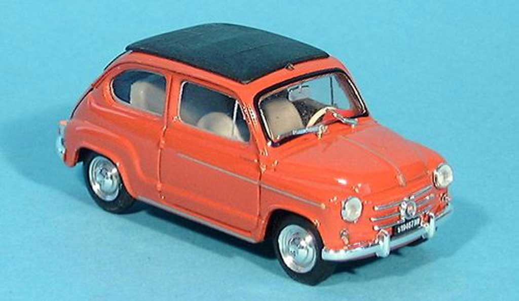 Fiat 600 1/43 Brumm D rouge geschlossen 1960