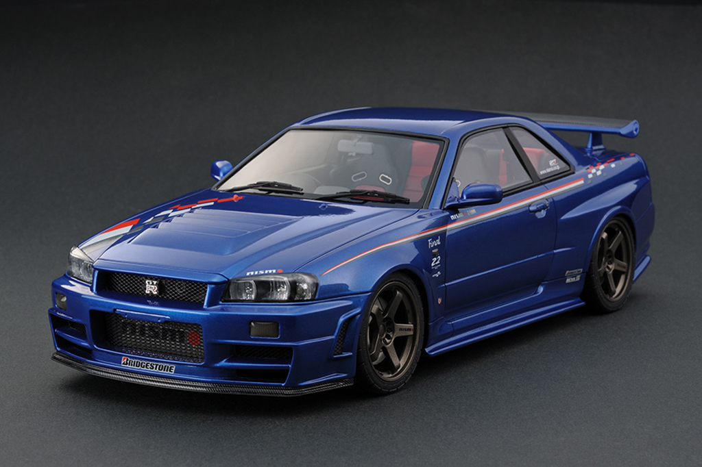 Nissan Skyline R34 1/18 Ignition Model Nismo GT-R Z-tune Bayside Blue (NISMO FESTIVAL 2013 MEMORIAL EDITION) IG0010 miniature