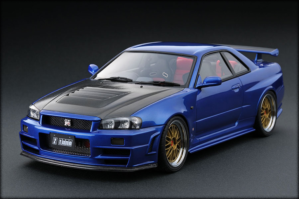 Nissan Skyline R34 1/18 Ignition Model Nismo GT-R Z-tune Bayside Blue IG0017 miniature