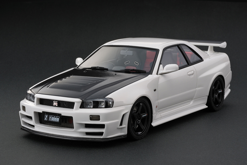 Nissan Skyline R34 1/18 Ignition Model 1/18 Nismo R34 GT-R Z-tune White (HOBBY FORUM 2013 MEMORIAL EDITION) IG0011 miniature