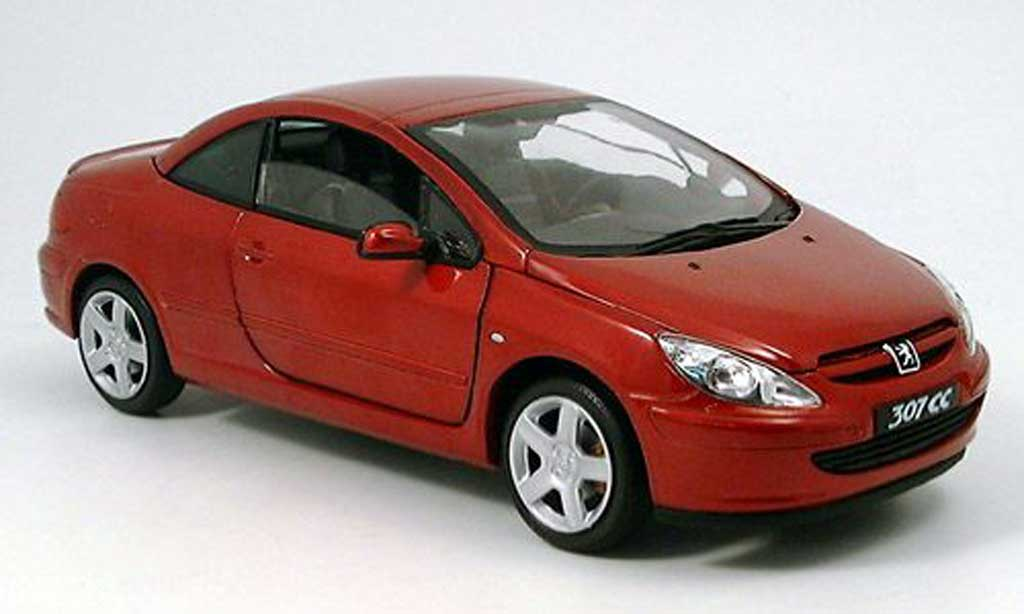 Peugeot 307 CC 1/18 Solido red 2003 diecast model cars