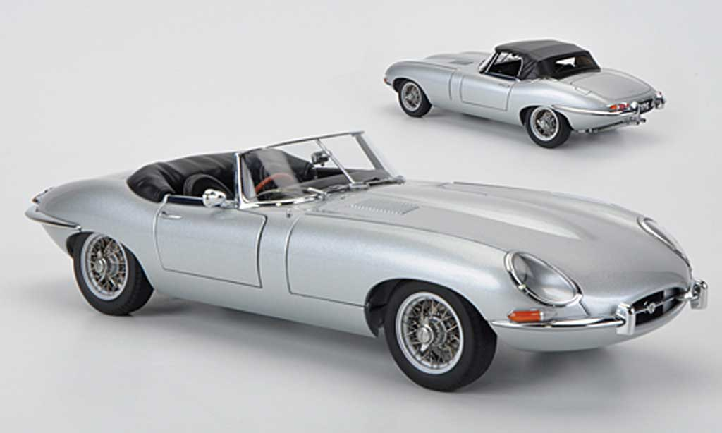 Jaguar E-Type 1/18 Autoart Roadster Series I 3.8 grise miniature