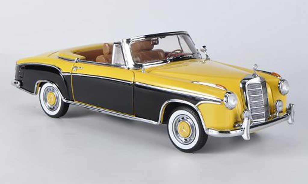 Mercedes 220 1/18 Sun Star SE Cabriolet jaune/noire 1958 miniature