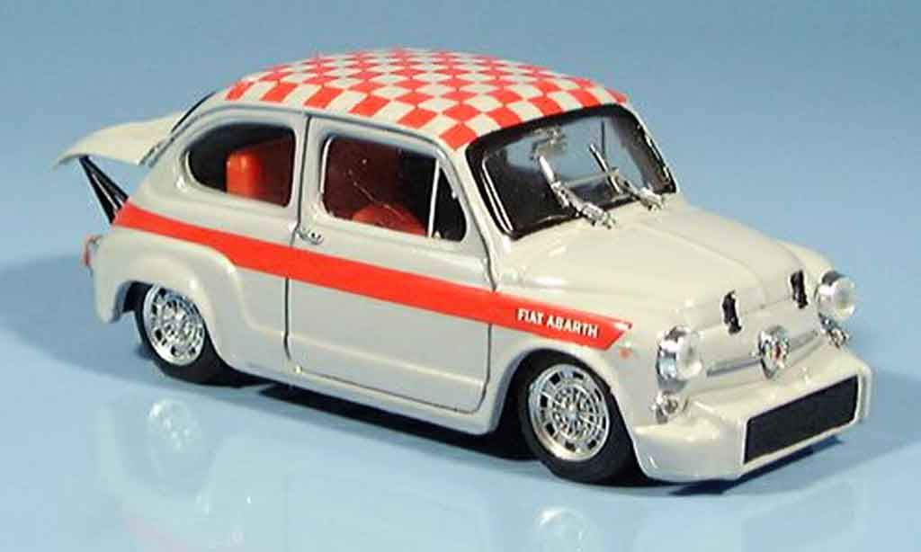 Fiat Abarth 1000 1/43 Brumm Berlina rouge grise 1966