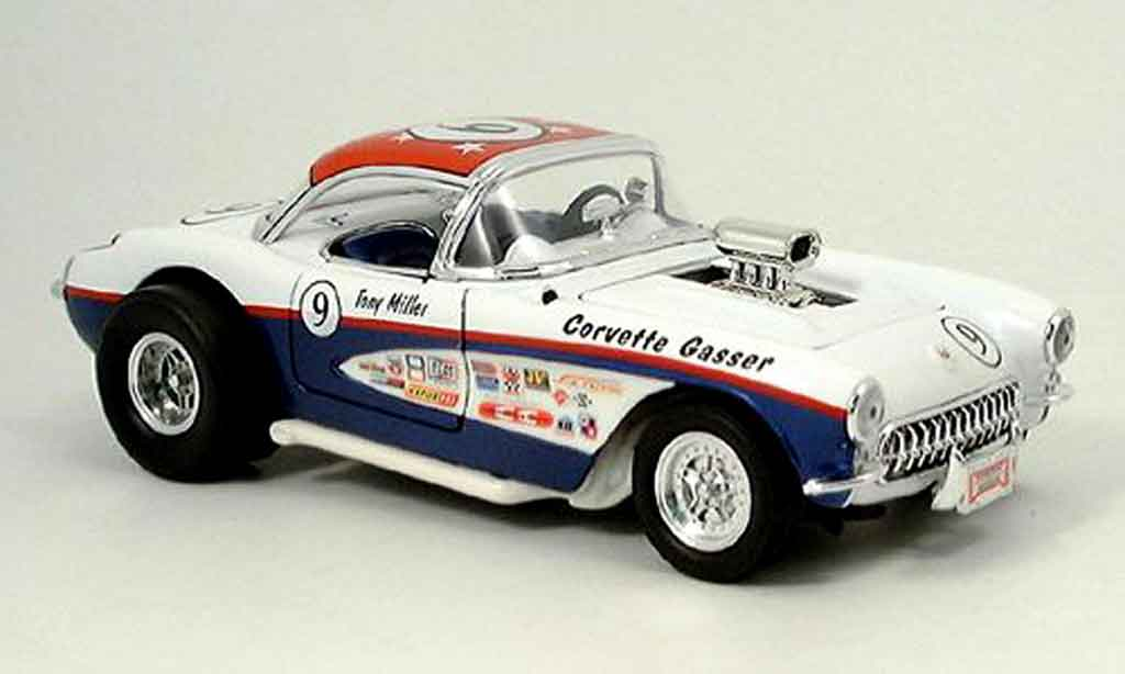 Chevrolet Corvette C1 1/18 Yat Ming gasser white bleu no.9 1957 diecast model cars