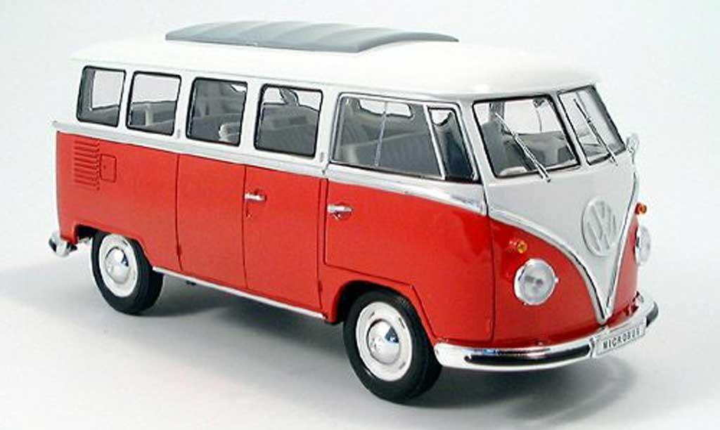 Volkswagen Combi 1/18 Spark bus, rouge/blanche 1962 miniature
