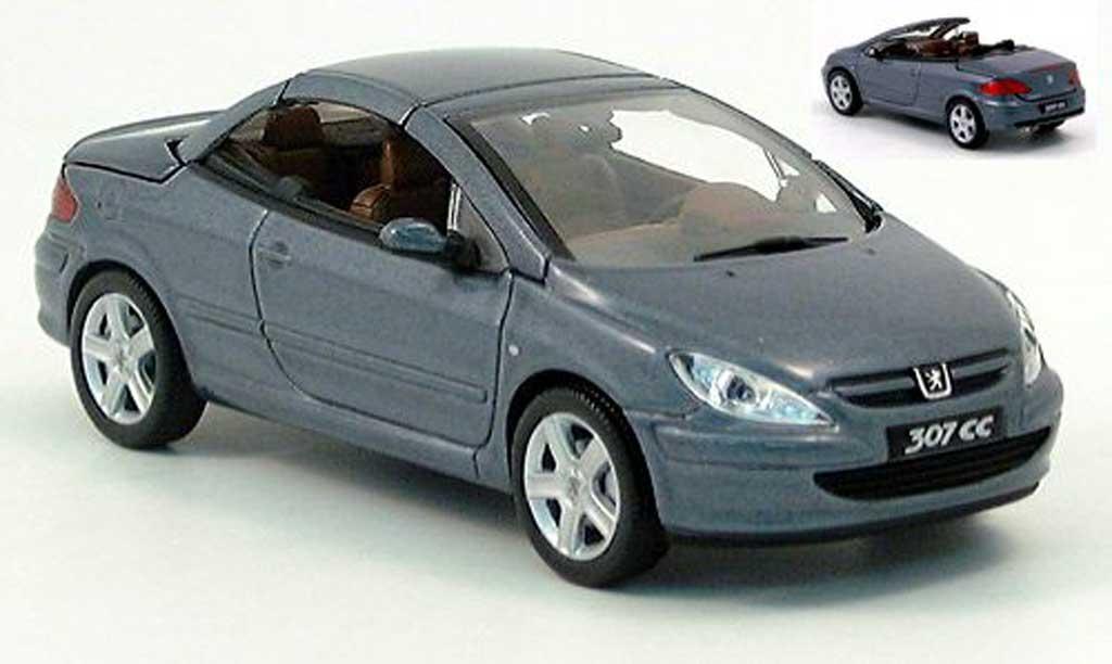 Peugeot 307 WRC 1/43 Norev CC anthrazit avec funktionsfahigem Verdeck 2004 diecast