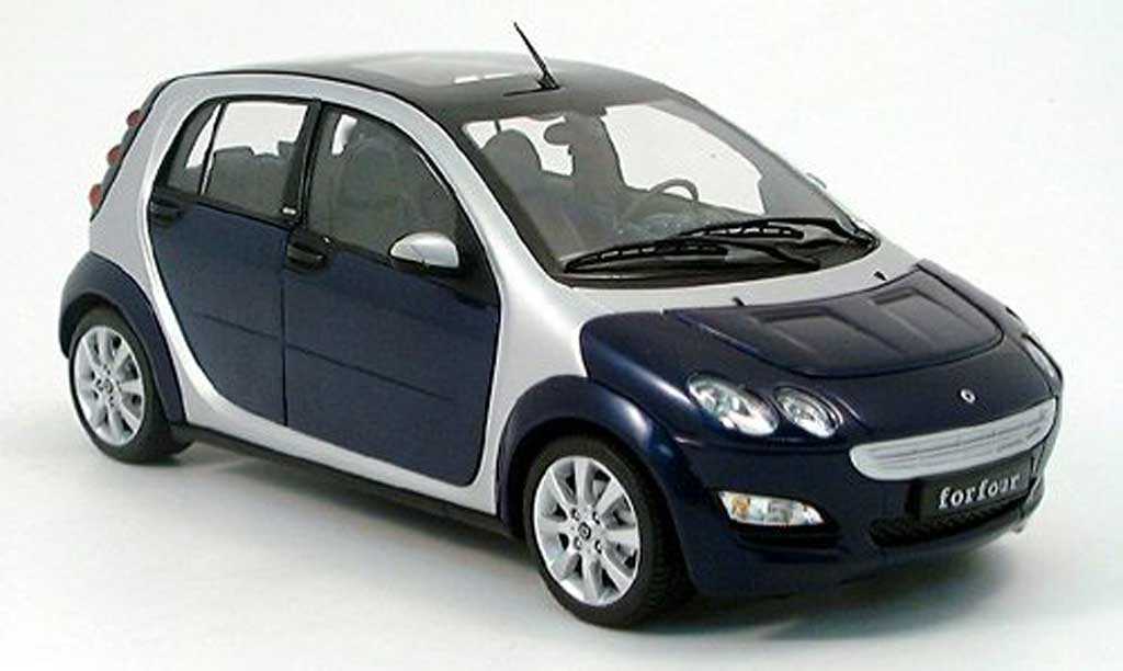 Smart ForFour 1/18 Kyosho bleu/grise metallisee 2004 miniature