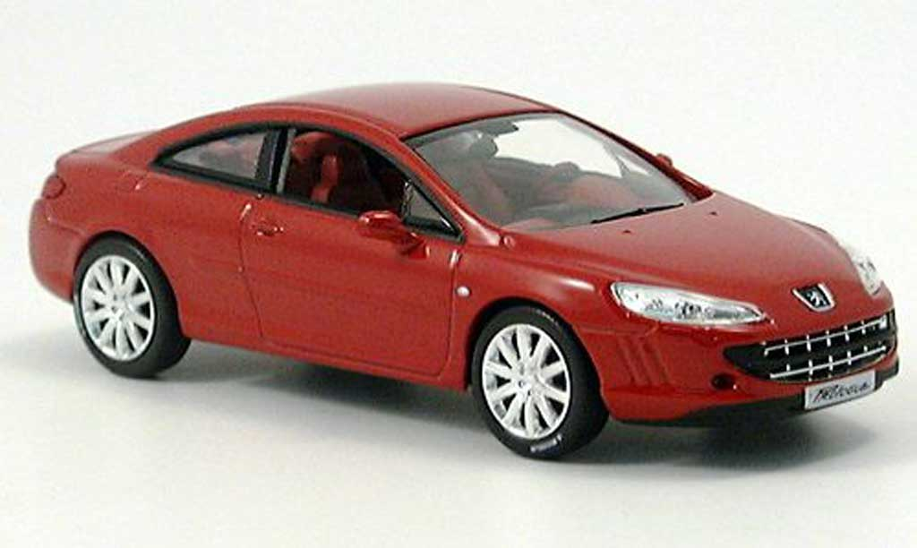 Peugeot 407 coupe 1/43 Norev rouge Prasentationsmodell Autosalon Genf miniature