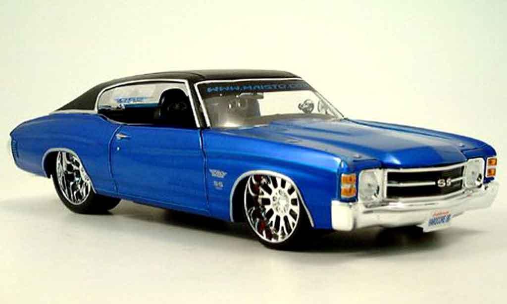 Chevrolet Chevelle 1971 1/18 Maisto SS454 prorodz tuningcar bleu miniature