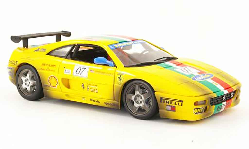 Ferrari F355 Berlinetta 1/18 Hot Wheels challenge giallo miniatura