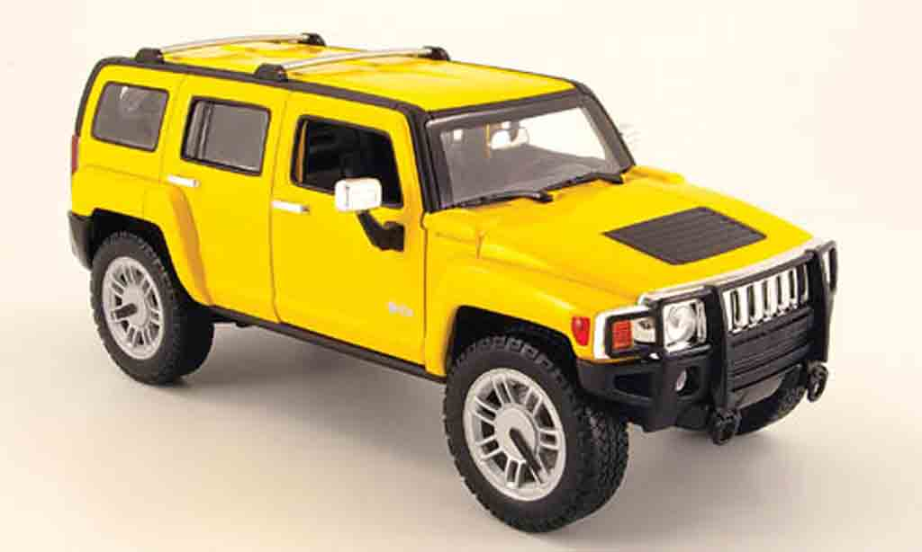 Hummer H3 1/18 Hot Wheels suv yellow diecast model cars