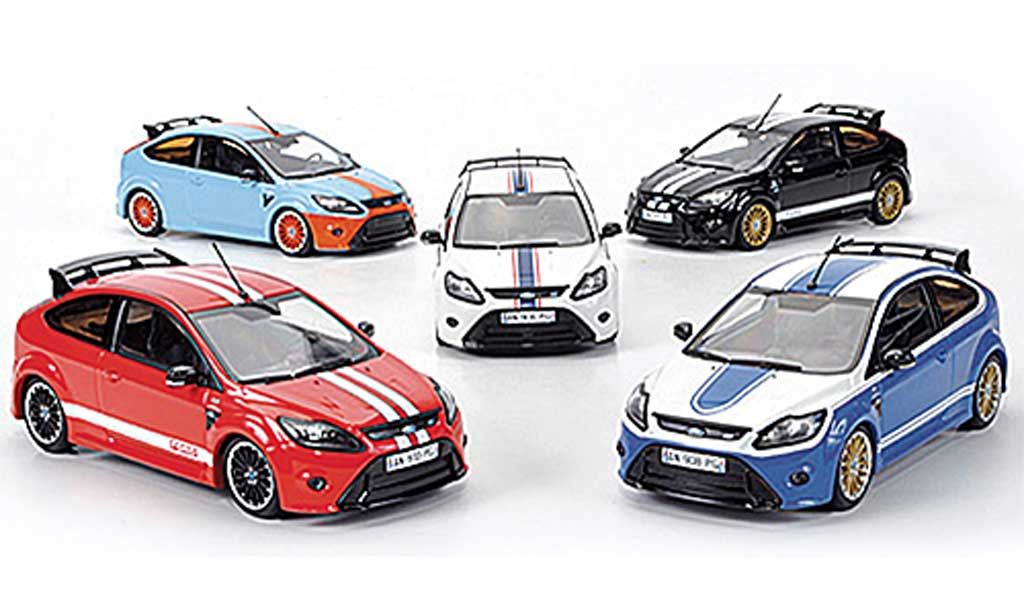 Ford Focus RS Le Mans 1/43 Minichamps 5er-Set: Edition black / red / bleu / bleu / white Sondermodelle MCW 2010 diecast model cars