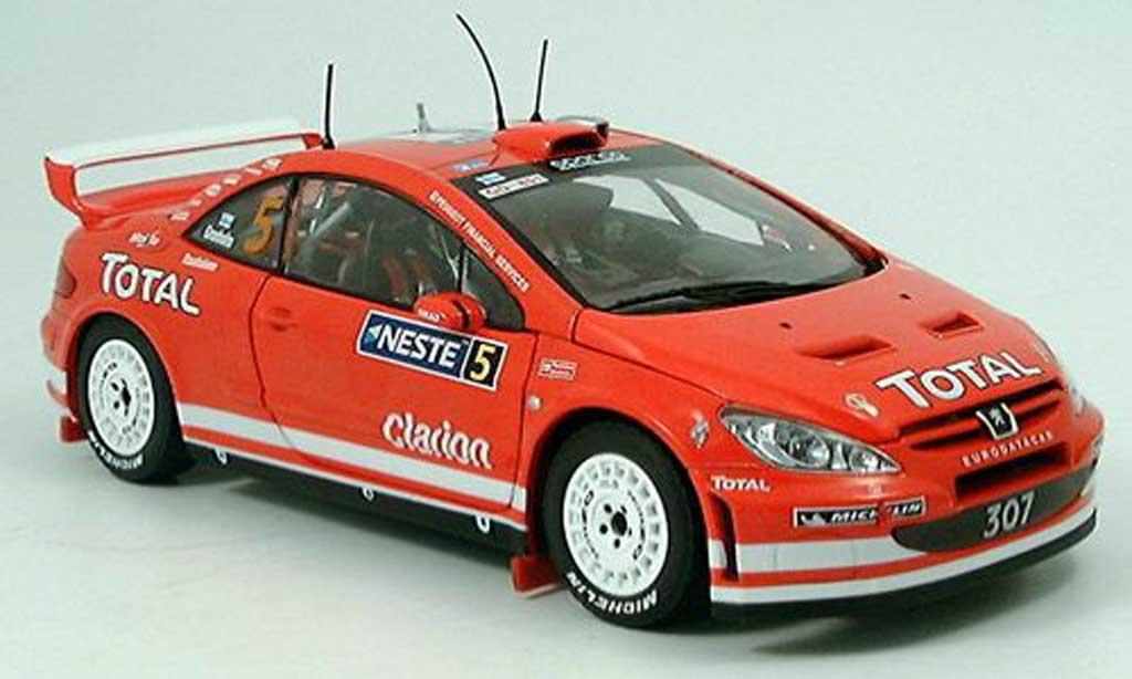Peugeot 307 WRC 1/18 Sun Star no.5 total/neste finlande rallye 2004 diecast