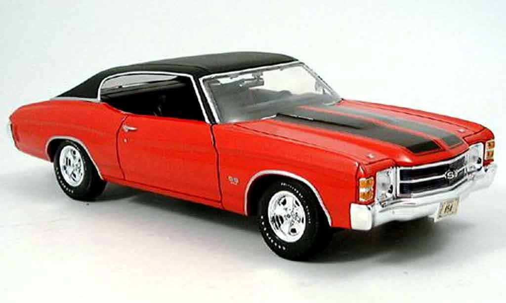 Chevrolet Chevelle 1971 1/18 Maisto SS454 rouge noire miniature