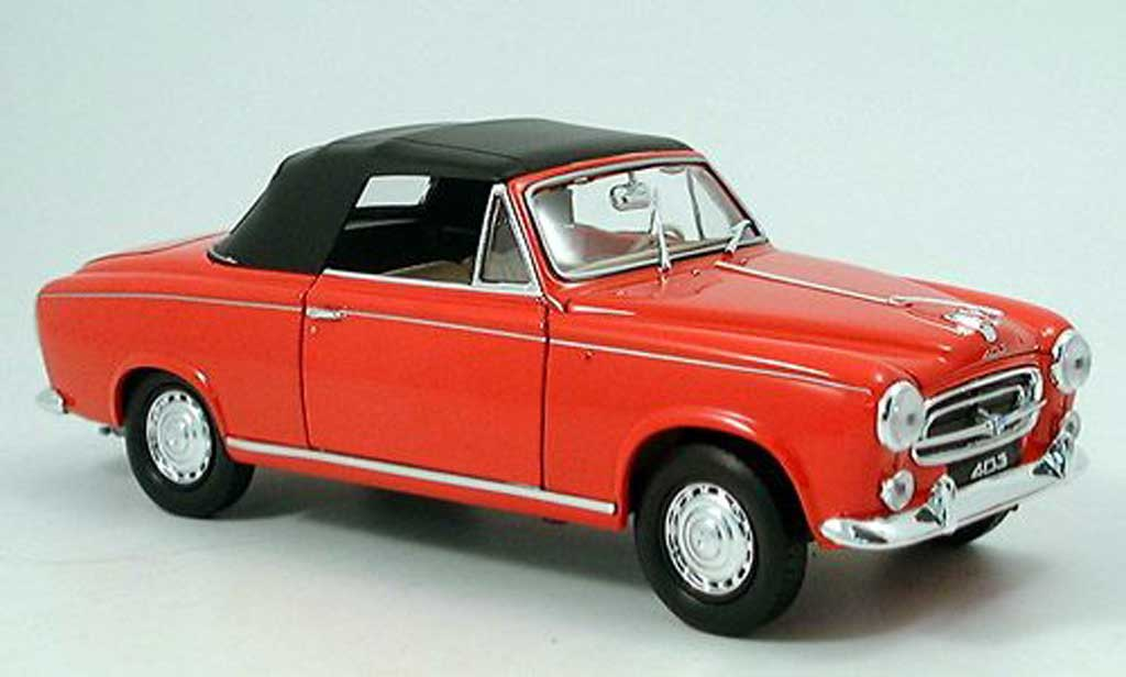 Peugeot 403 Cabriolet 1/18 Welly rouge 1957 avec capote miniature