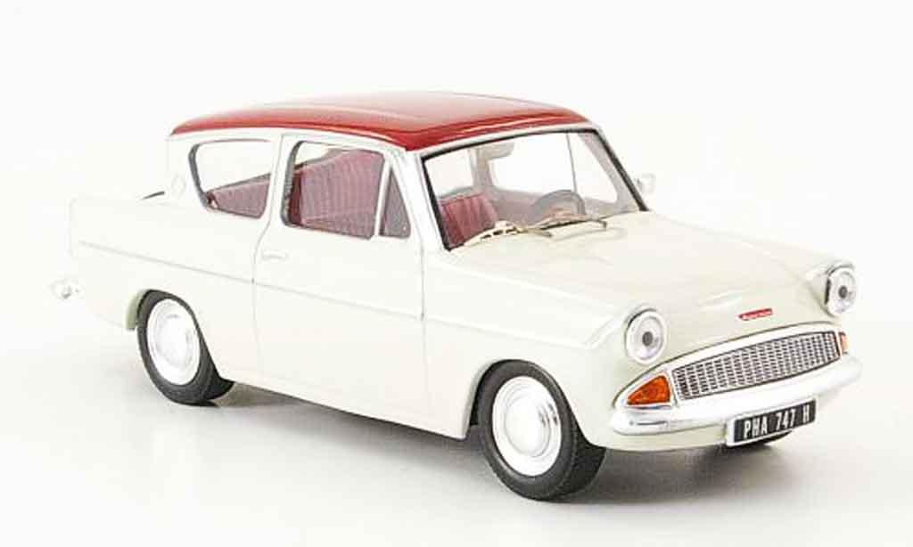 Ford Anglia 1/43 IXO 105E Sportsman rouge blanche miniature