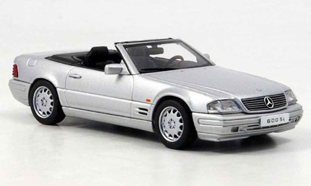 Mercedes 600 SL 1/43 Autoart SL (R129) Cabrio grey metallisee diecast model cars