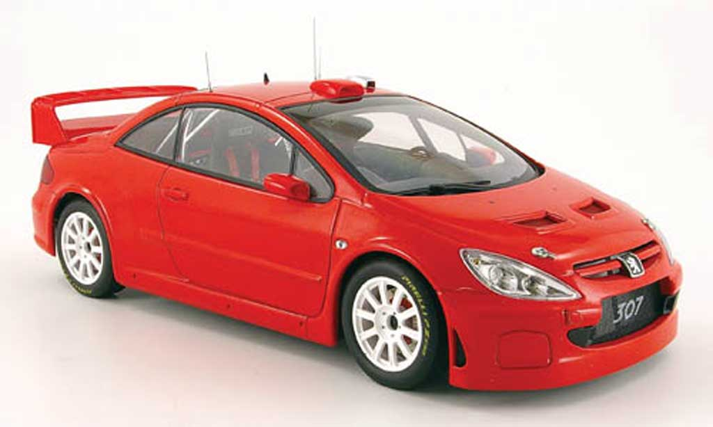 Peugeot 307 WRC 1/18 Autoart rouge plain body version 2005 miniature