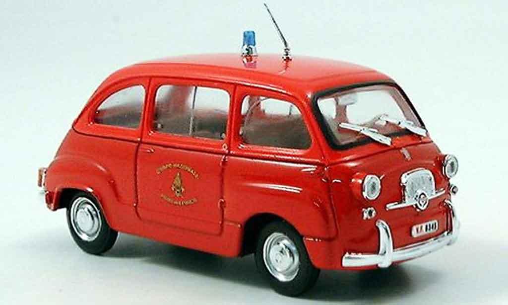 Fiat 600 1/43 Brumm D Mulitpla pompier diecast