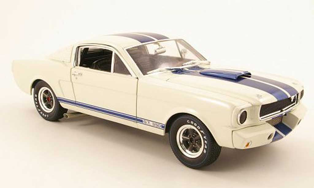 Shelby GT 350 1966 1/18 Shelby Collectibles r blanche/bleu miniature