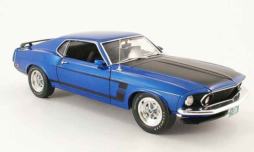 Ford Mustang 1969 1/18 Highway 61 Boss 302 bleu/matt noire miniature