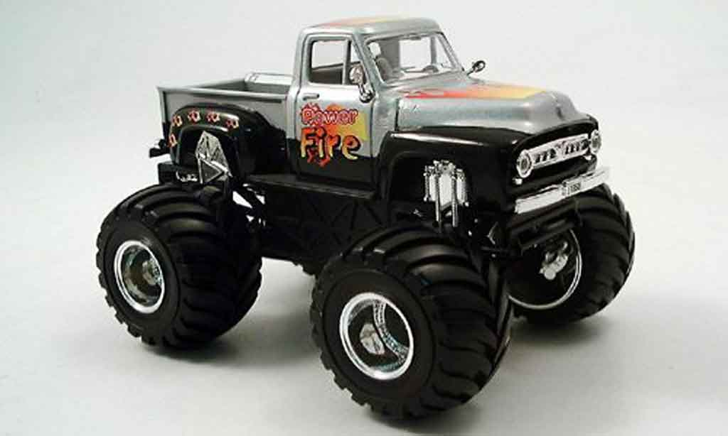 Ford F100 1/43 Yat Ming Monster Truck grise metallisee noire 1953 miniature