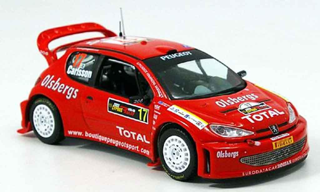 Peugeot 206 WRC 1/43 IXO no.17 carlsson andersson rallye zypern 2005 miniature