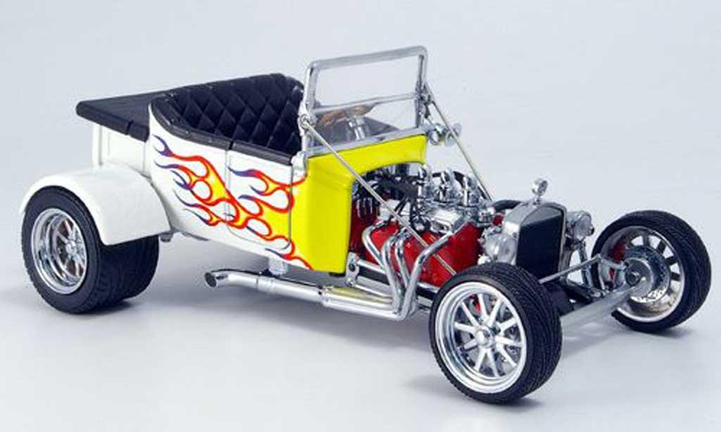 Ford Hot Rod 1/18 Yat Ming t-bucket blanche avec jauneen flammen offen 1925 miniature