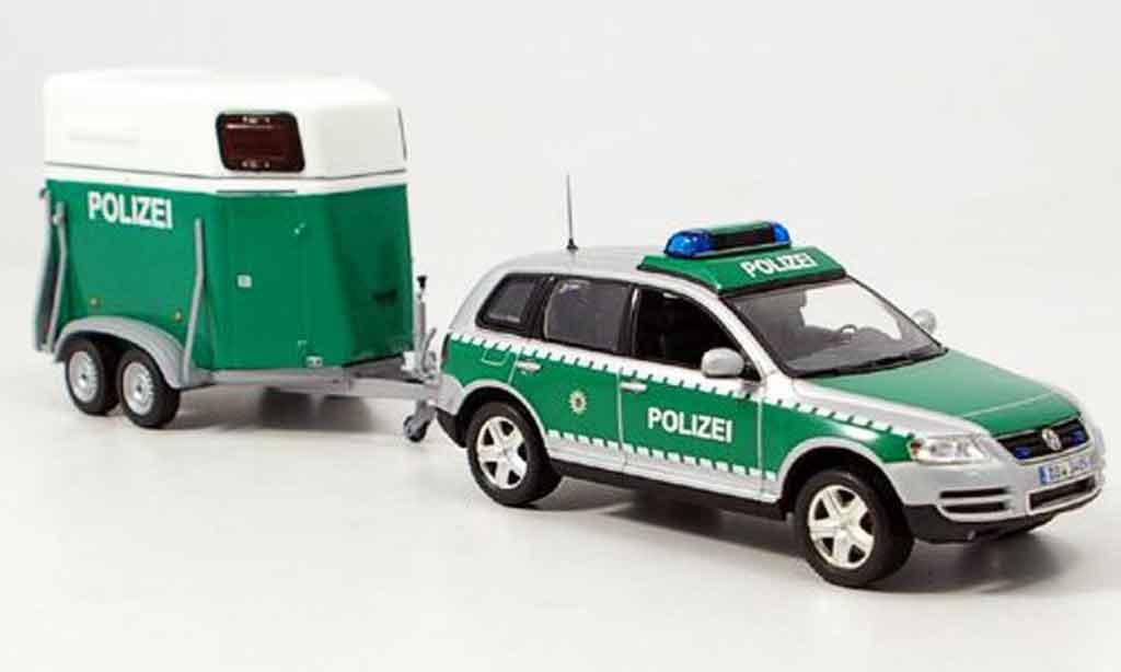 Volkswagen Touareg 1/43 Minichamps avec pferdeanhanger police 2002 diecast
