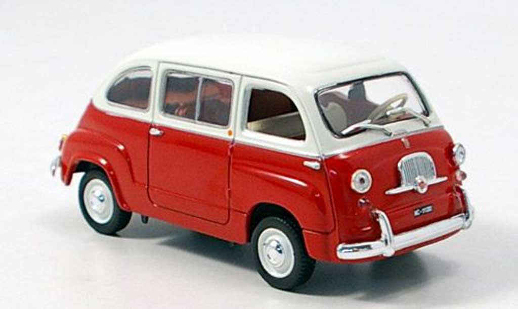 Fiat 600 1/43 Norev Multipla rouge-blanche 1963 miniature