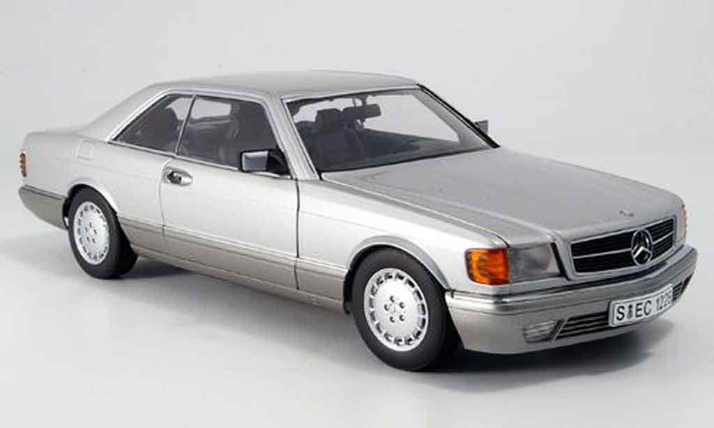Mercedes 500 SEC 1/18 Autoart (w 126) coupe gray metallized diecast