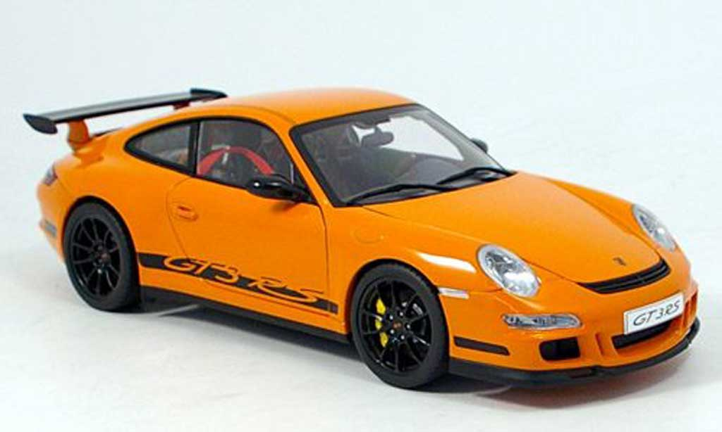 Porsche 997 GT3 RS 1/18 Autoart 2006 orange-noire miniature