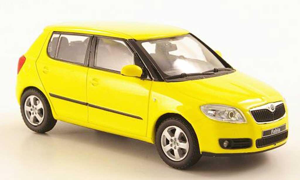 Skoda Fabia II 1/43 Abrex jaune 2007 miniature
