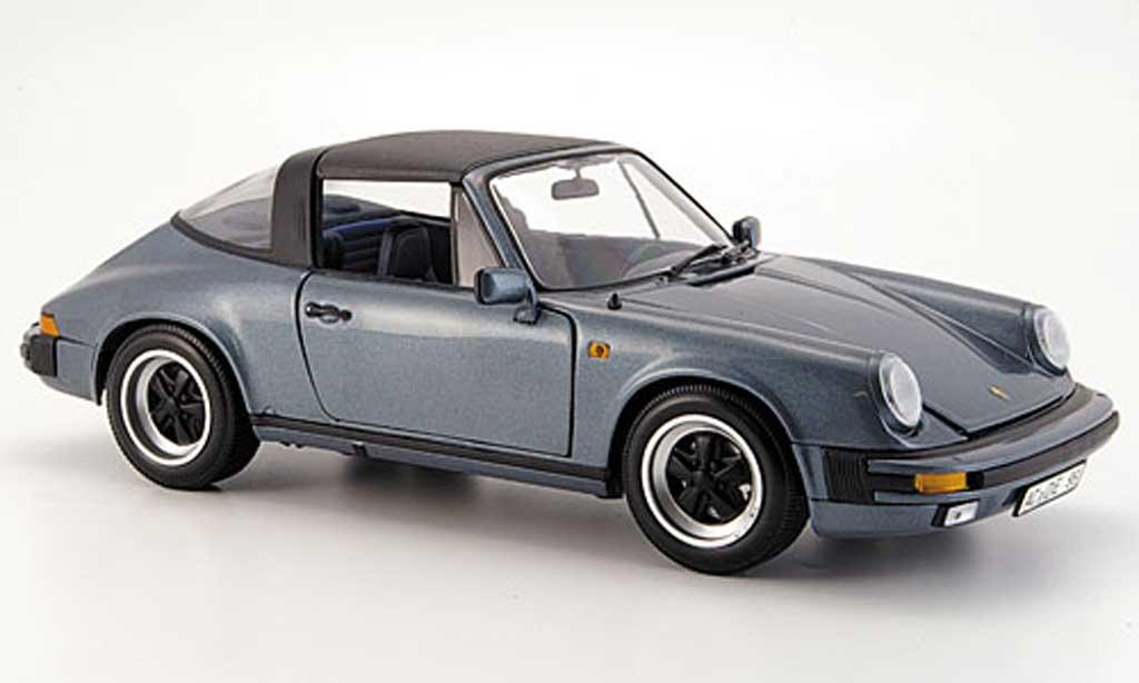 Porsche 930 Targa 1/18 Minichamps carrera bleu grise 1983 miniature
