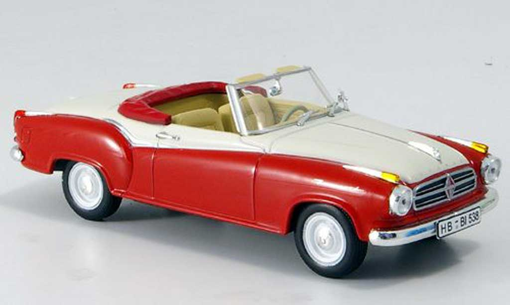 Borgward Isabella 1/43 Norev Cabriolet rouge/blanche 1958 miniature