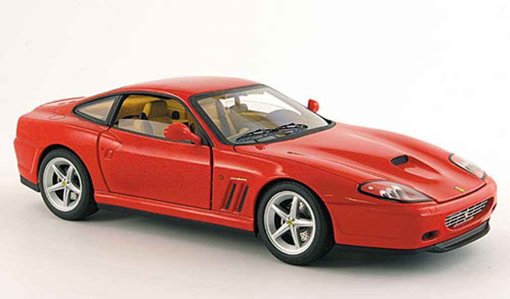 Ferrari 575 M 1/18 Hot Wheels Elite rouge mit marronem interieur miniature