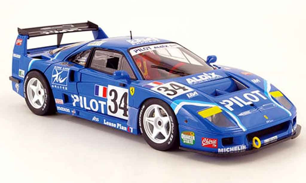 Ferrari F40 1/18 Hot Wheels Elite no.34 pilot 24h le mans 1995 diecast model cars