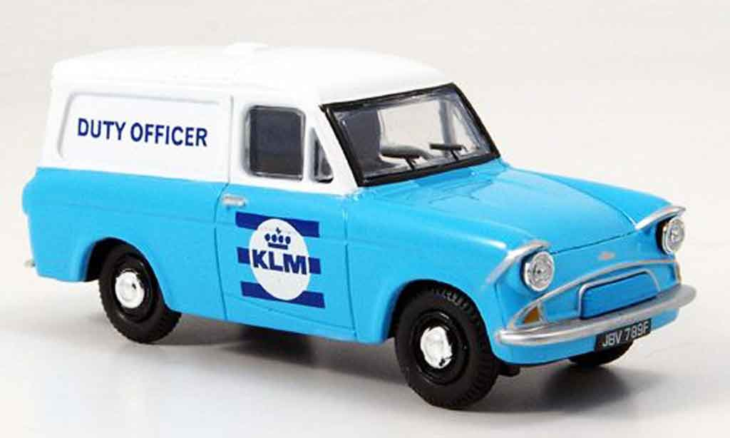 Ford Anglia 1/43 Oxford Van bleu blanche KLM Duty Officer miniature