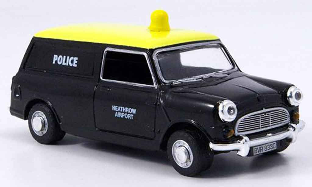 Austin Mini Van 1/43 Oxford noire jaune police Heathrow Police miniature