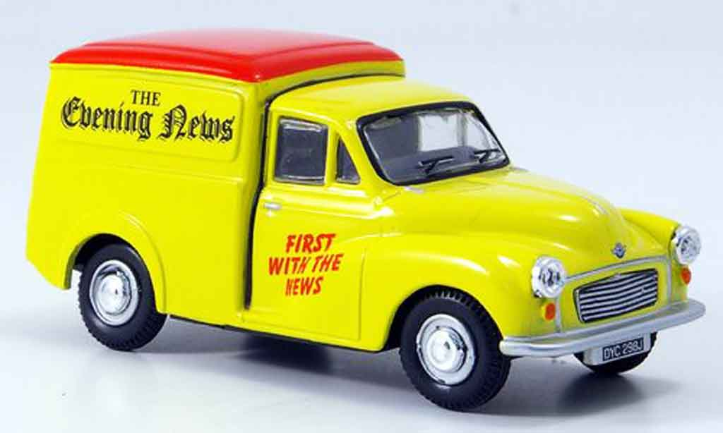 Morris Minor 1/43 Oxford Van jaune rouge Evening News Kasten miniature