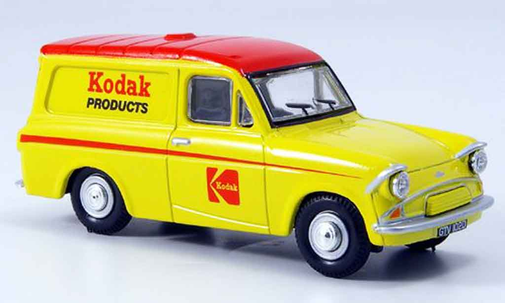 Ford Anglia 1/43 Oxford Van jaune rouge Kodak Kasten miniature