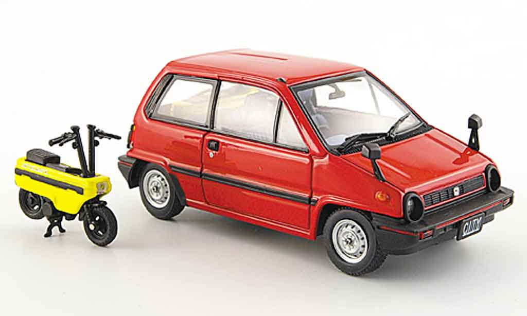 Honda City 1/43 Ebbro rouge avec Motocompo Minimotorrad 1981 miniature