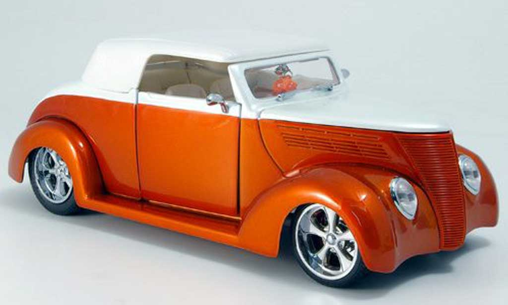 Ford Hot Rod 1/18 Yat Ming convertible orange-met./blanche geschlossen 1937 miniature