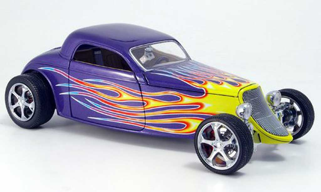 Ford Hot Rod 1/18 Yat Ming coupe lila flamming 1933 miniature